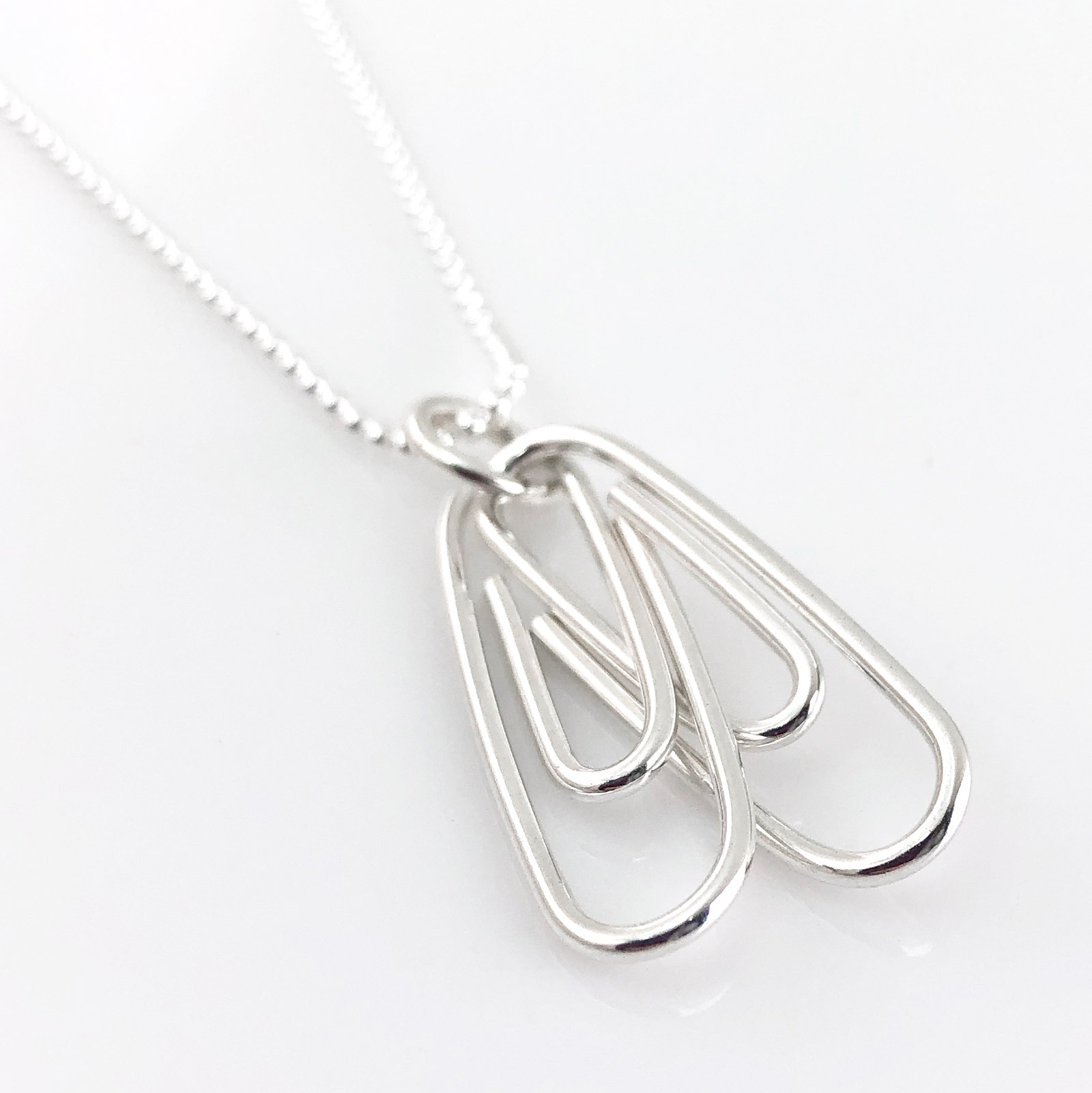 Two Linked Paperclips Necklace