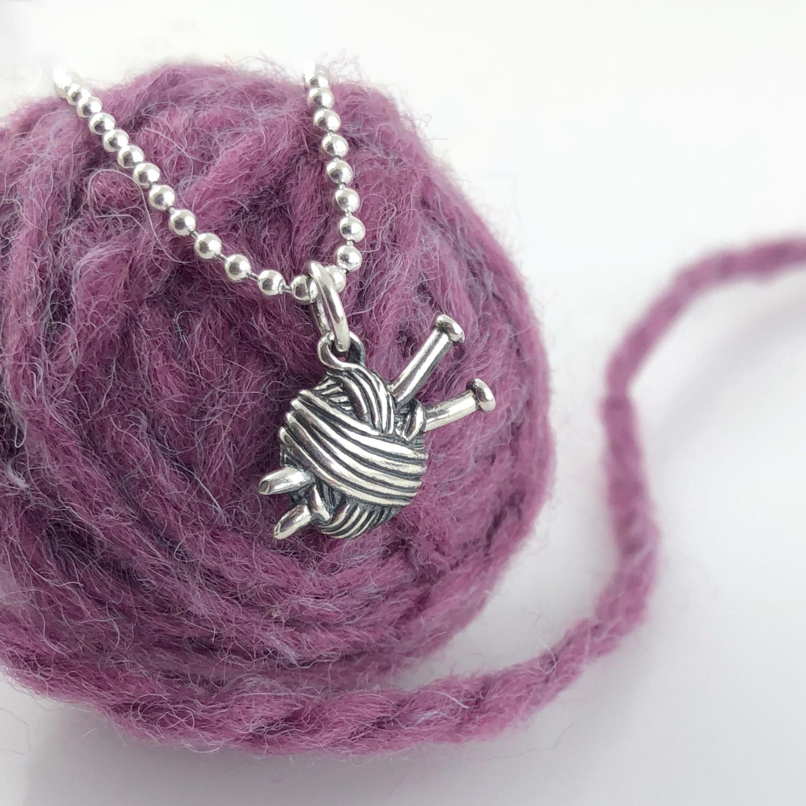 Knitting Needles / Yarn Ball Necklace