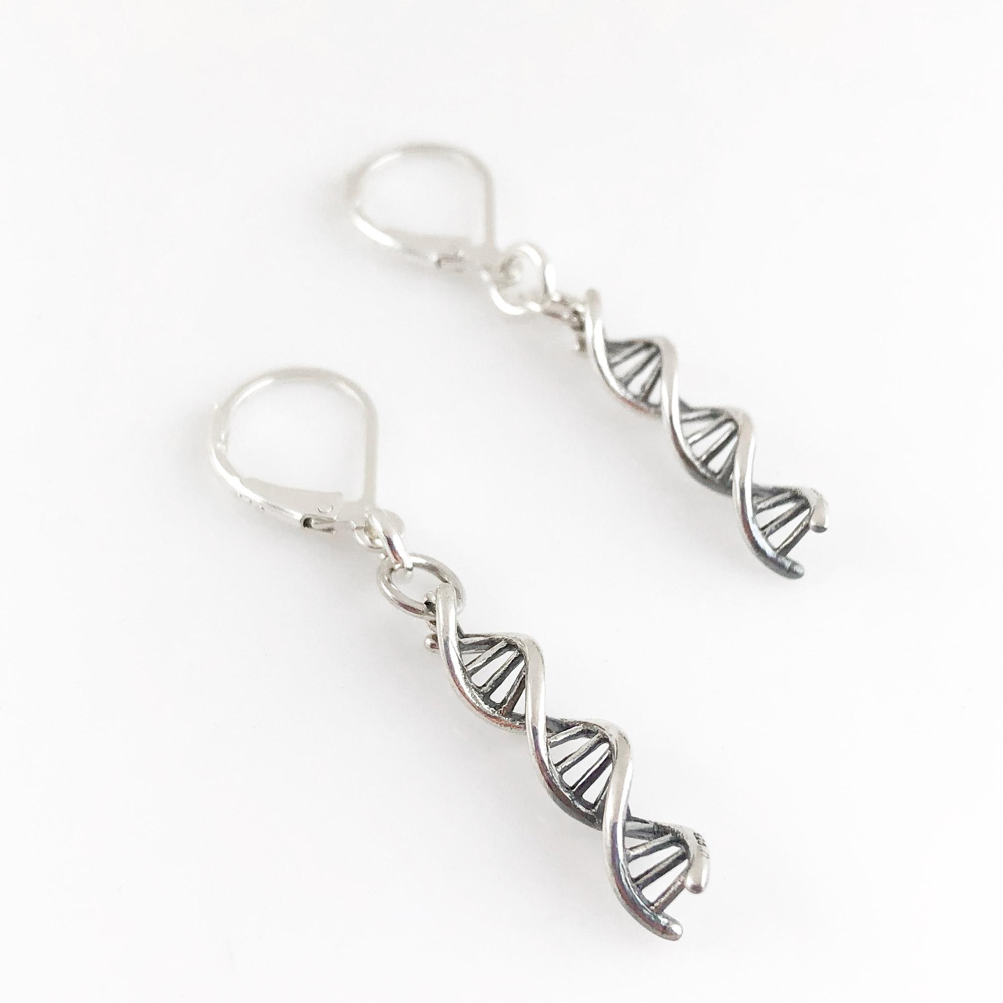 DNA Double Helix Sterling Silver Earrings