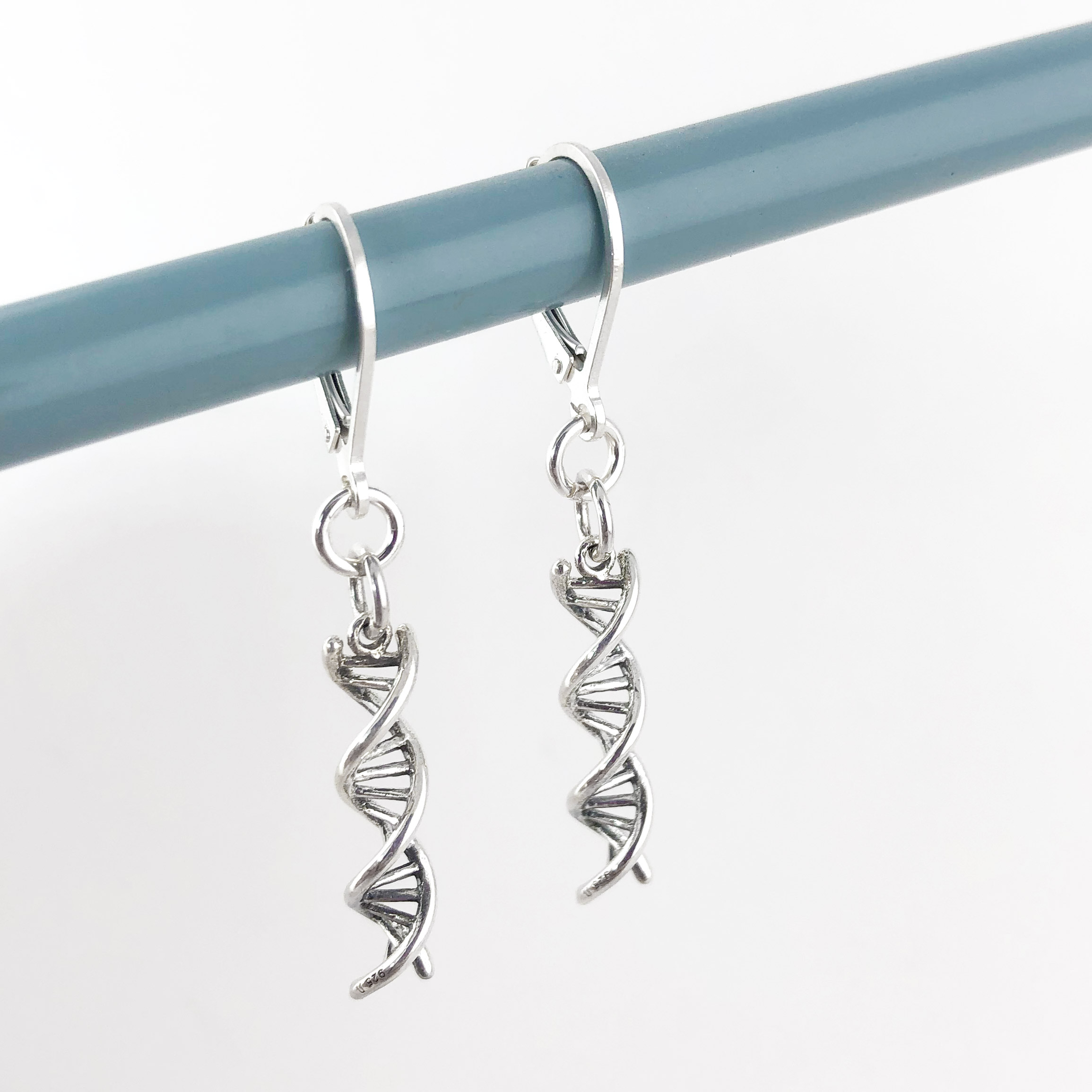 DNA Double Helix Sterling Silver Earrings