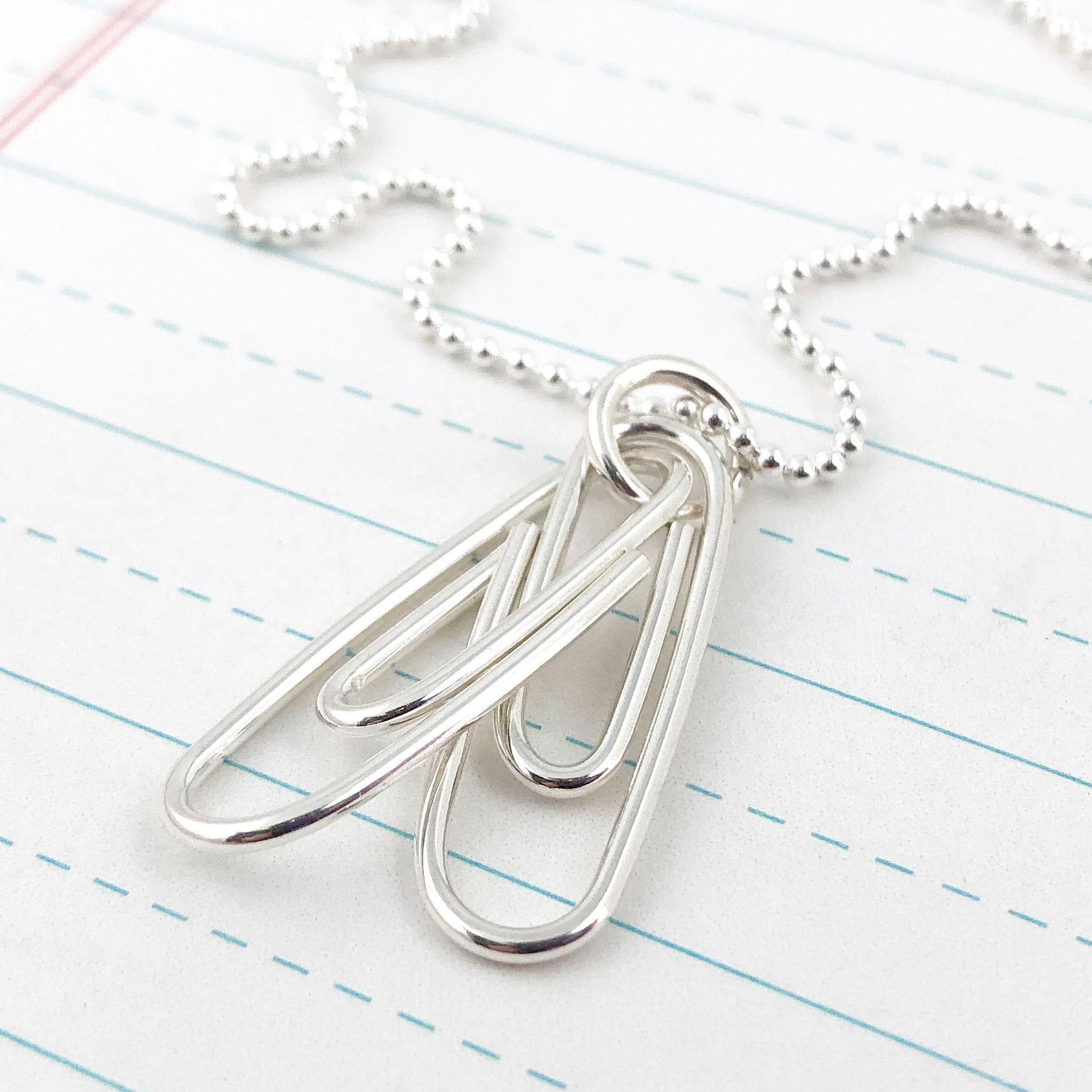 Two Linked Paperclips Necklace (Ready to Ship)