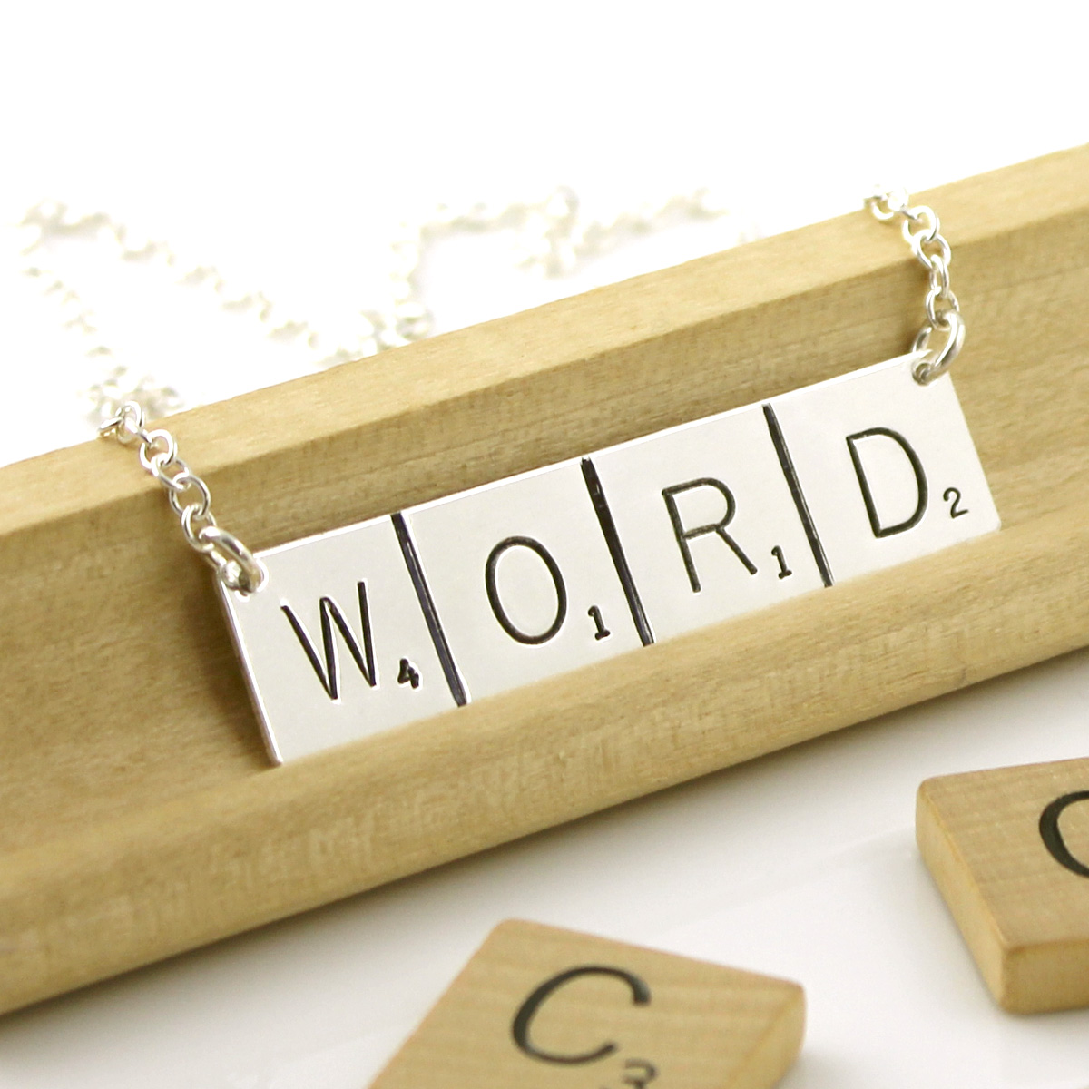 Scrabble Inspired Necklace - WORD (Ready to Ship)