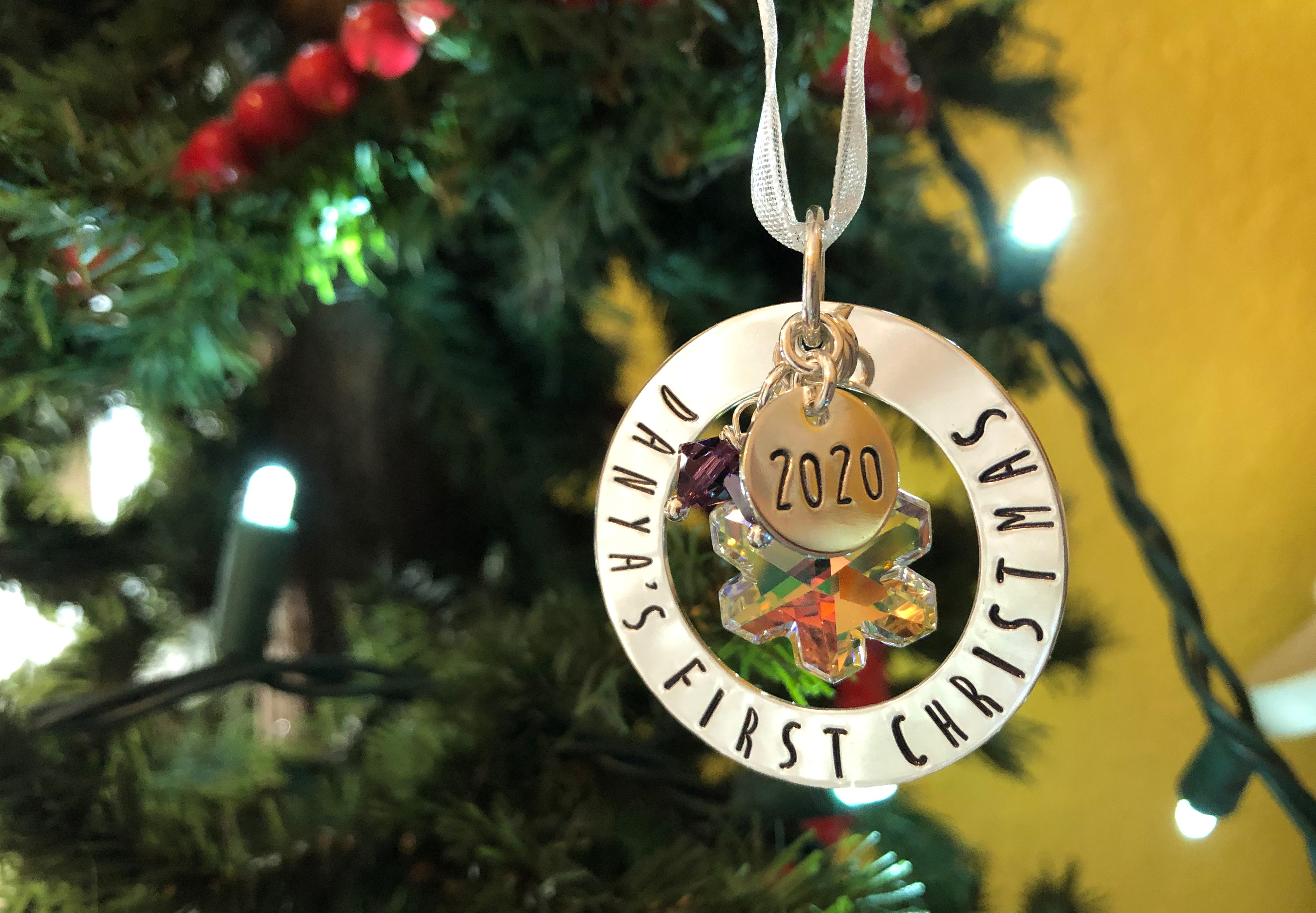 First Christmas Personalized Ornament with Swarovski Crystal Snowflake