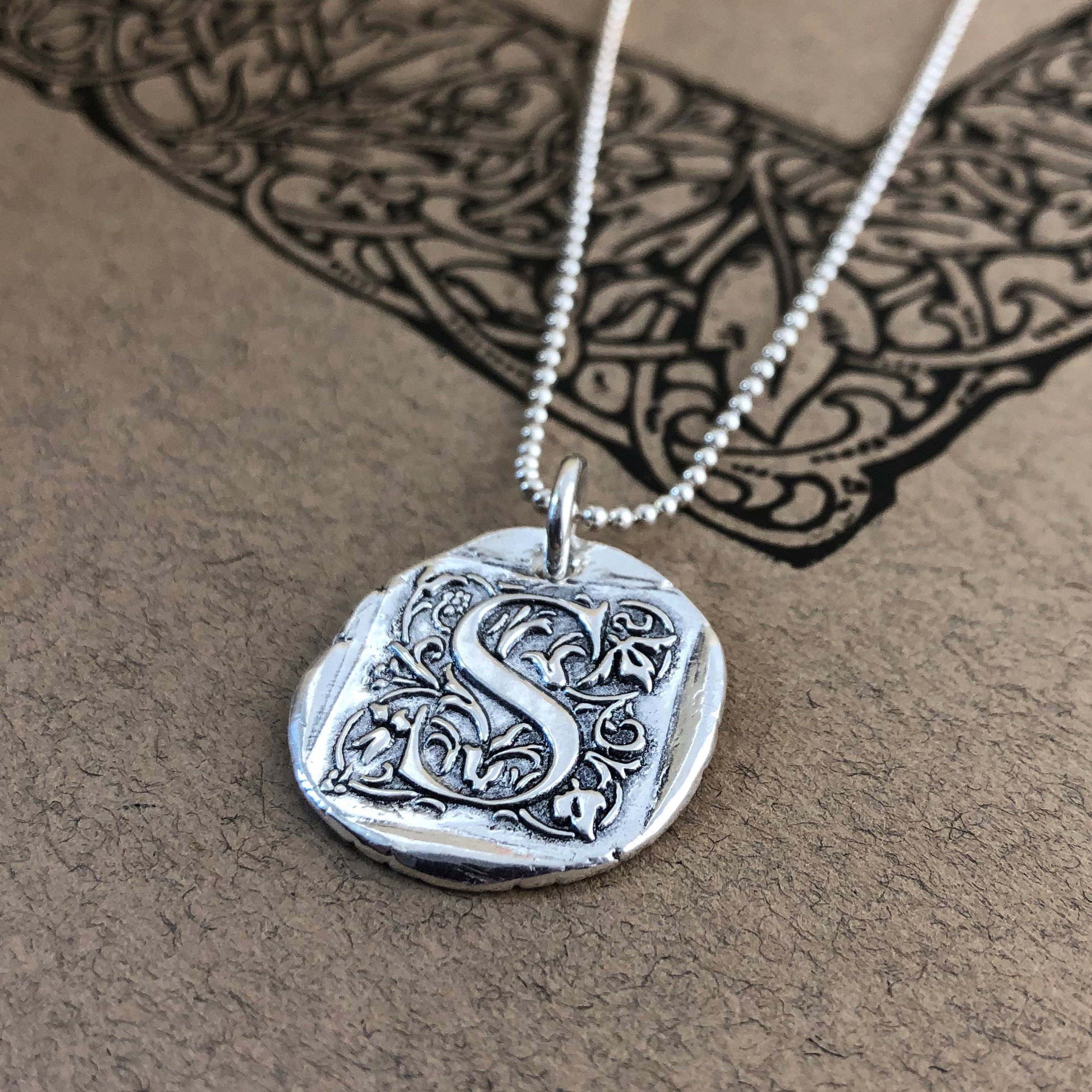 Initial Cap Wax Seal Necklace