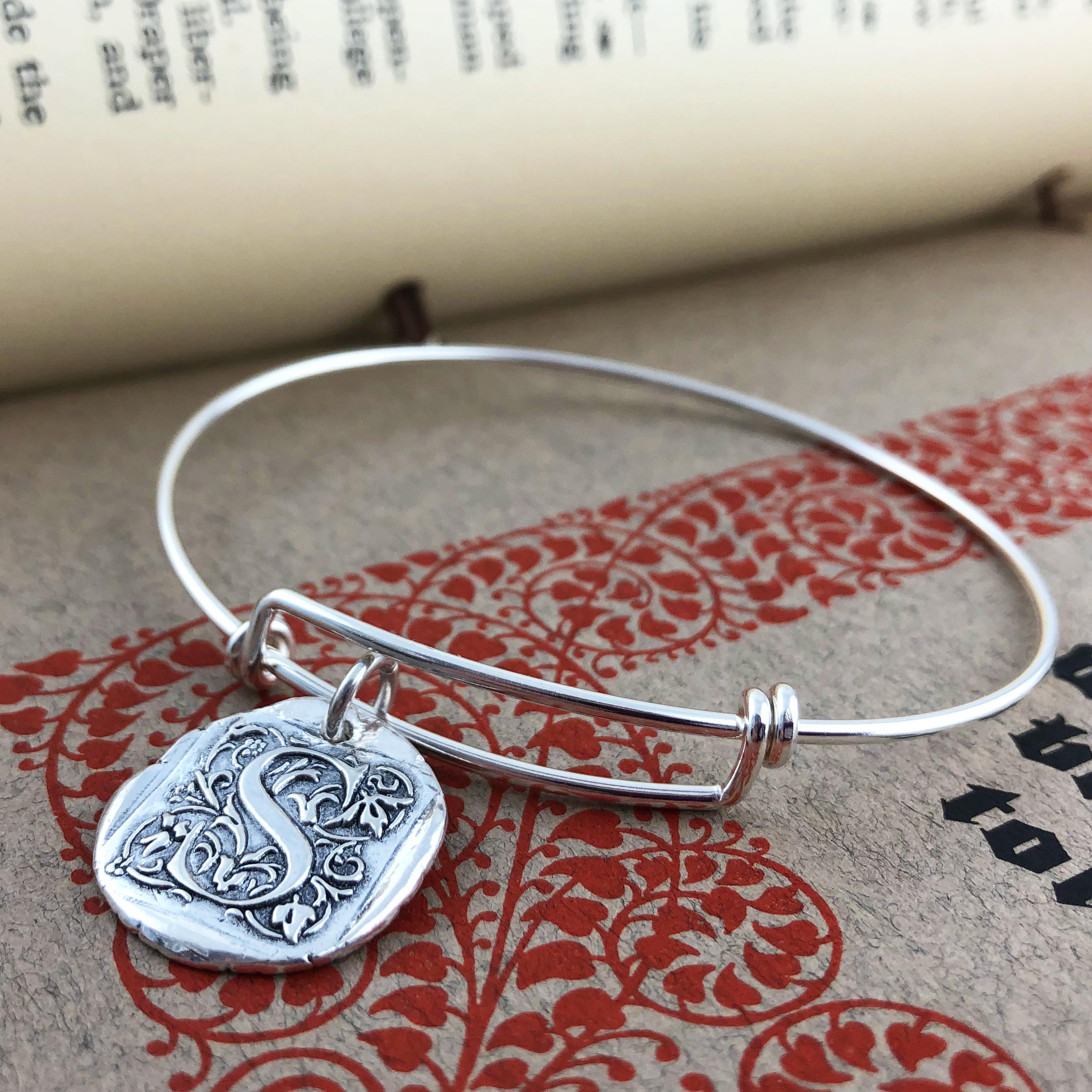 Initial Cap Wax Seal Inspired Bangle Bracelet