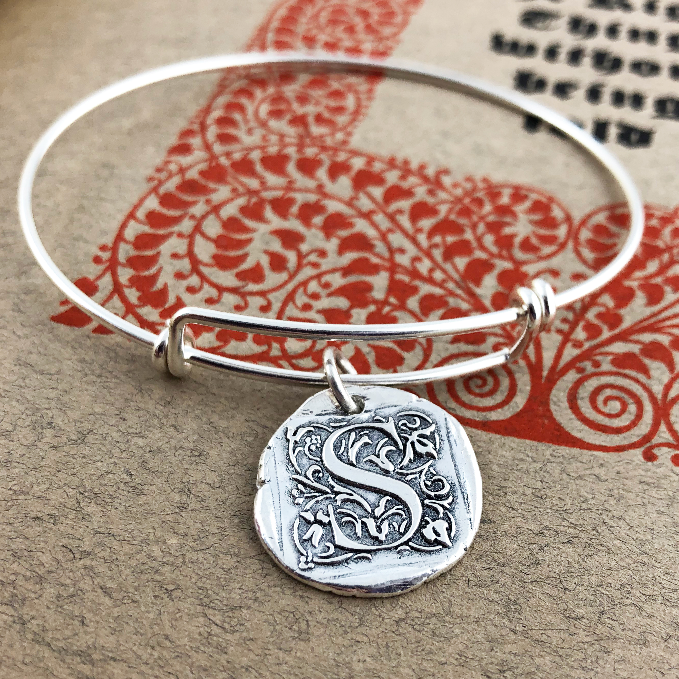 Initial Cap Wax Seal Inspired Bangle Bracelet