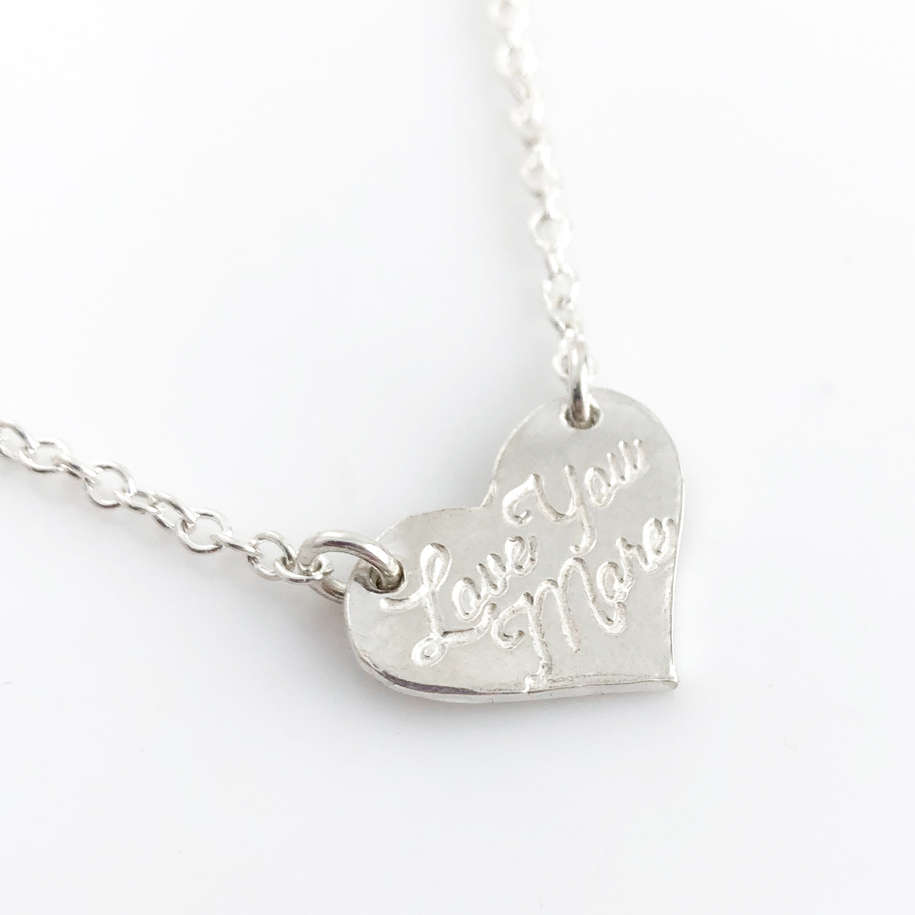 Love You More Fine Silver Heart Top Hang