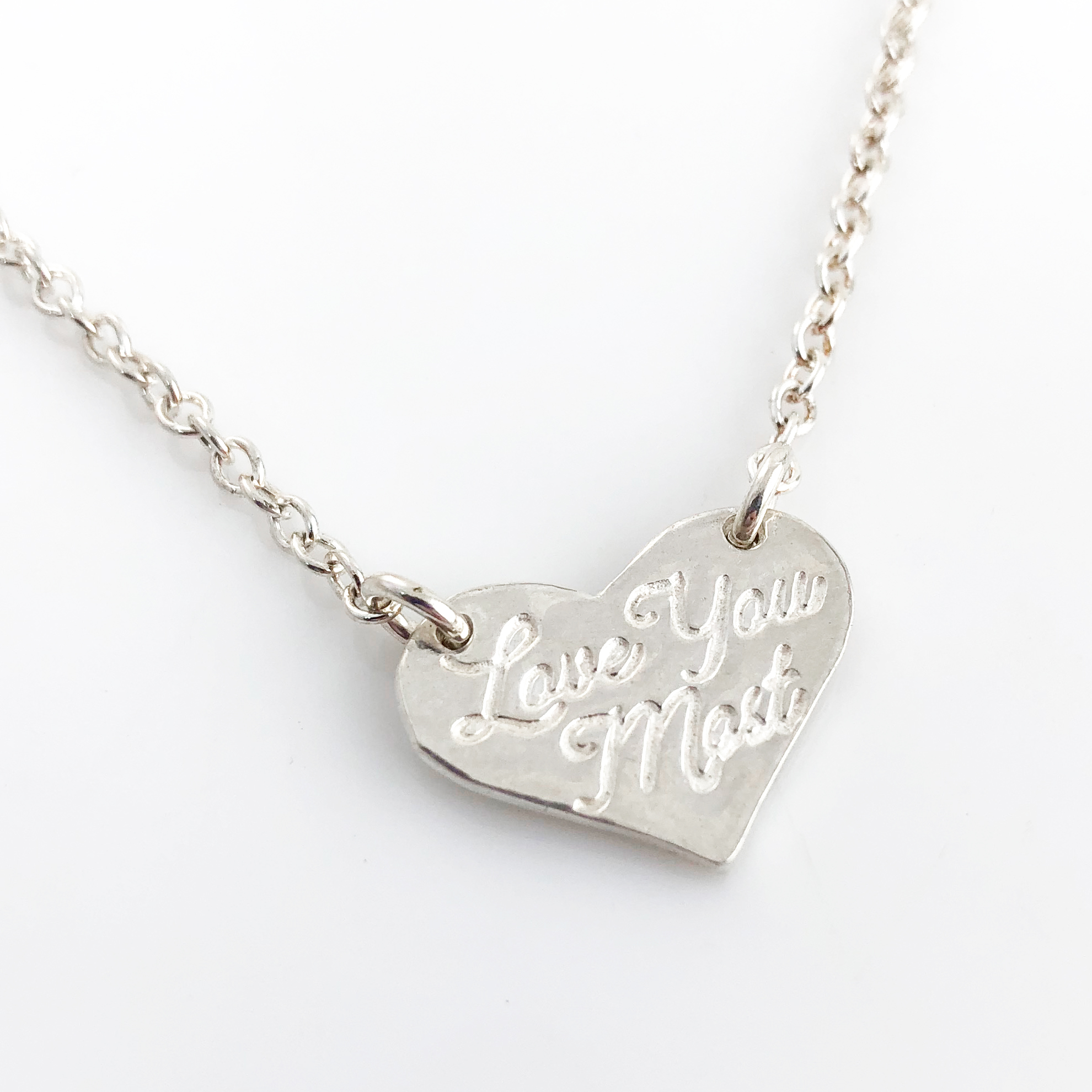 Love You Most Fine Silver Heart Top Hang