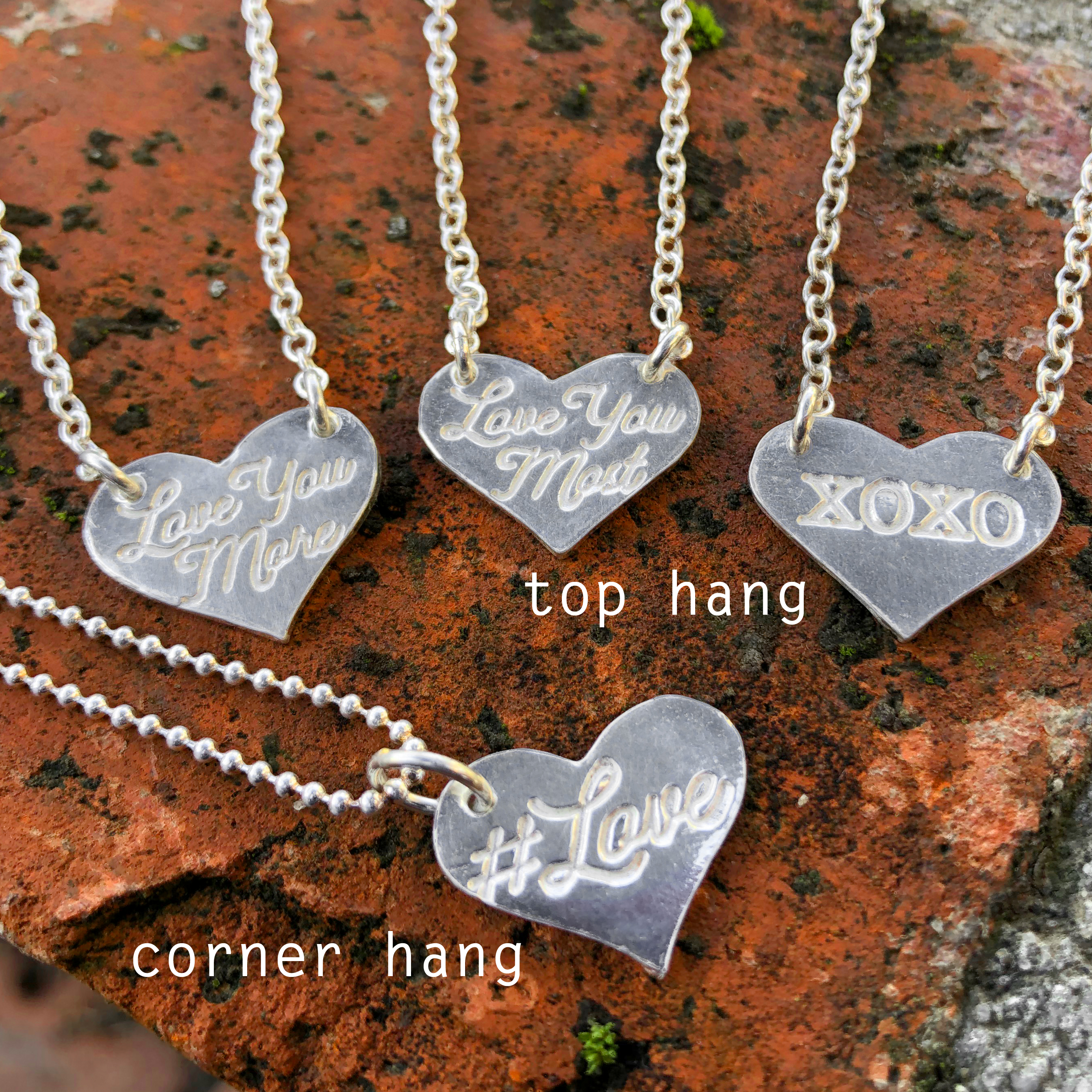 Heart Message Necklace  (shows both top hang and corner hang design)