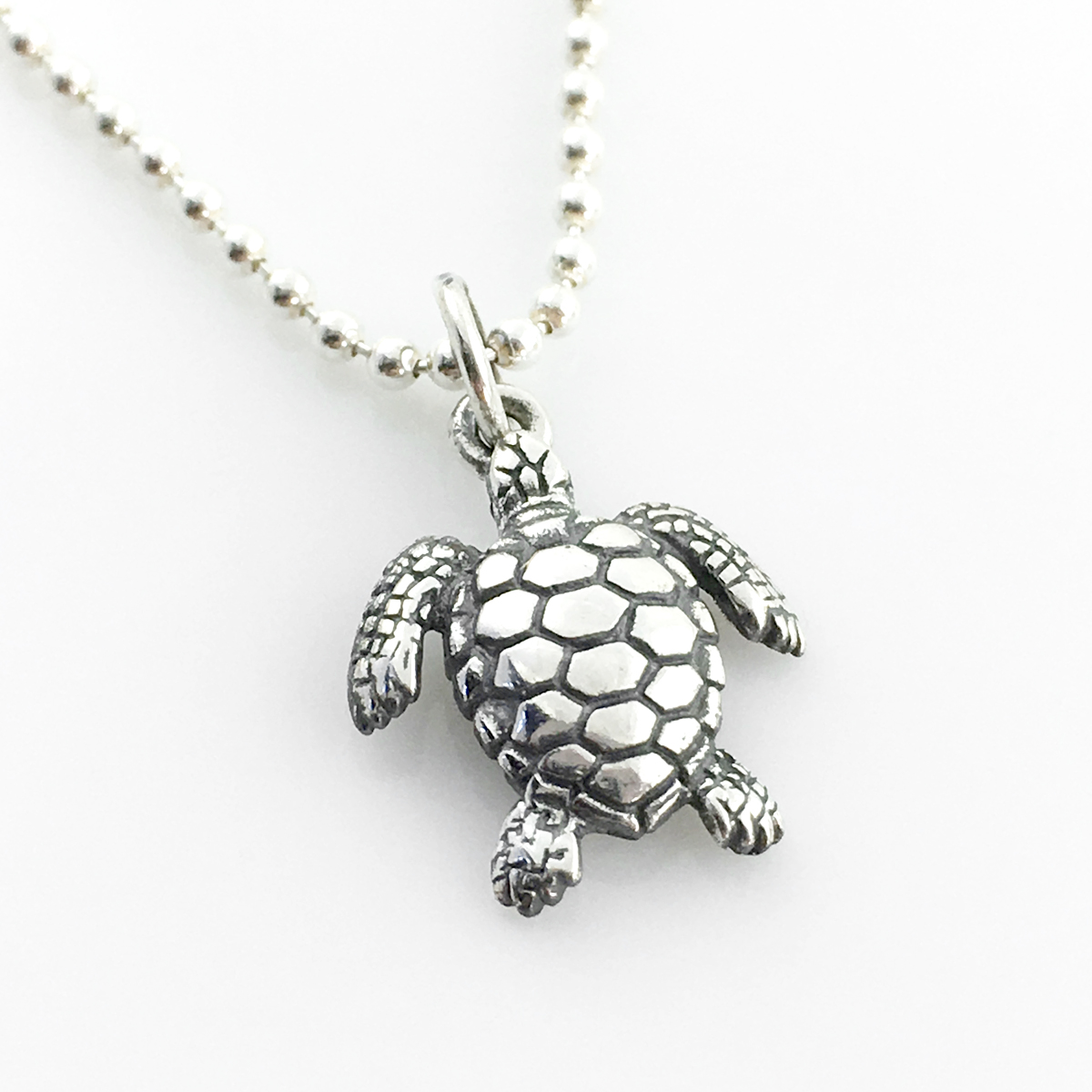 Sea Turtle Simple Charm on a sterling ball chain