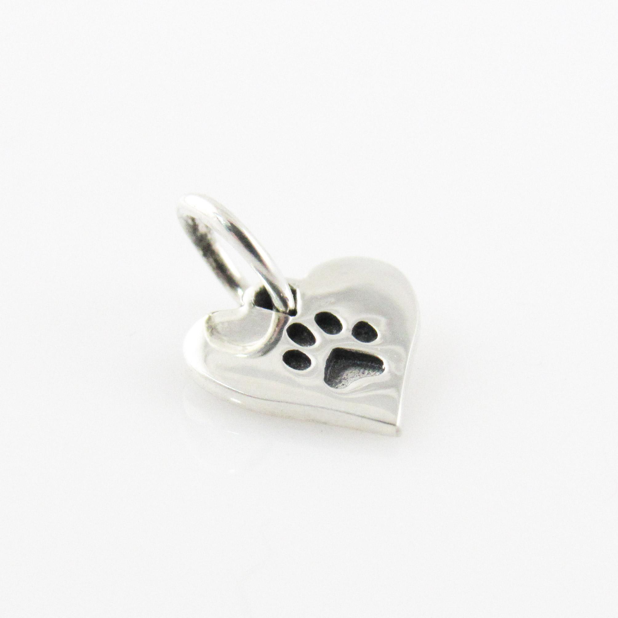 Add a Paw Print Tiny Heart Charm