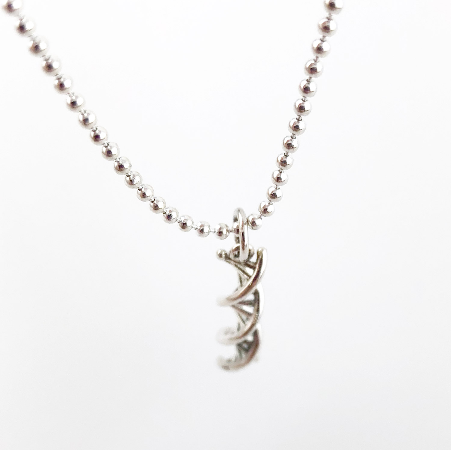 DNA Double Helix Sterling Silver Necklace