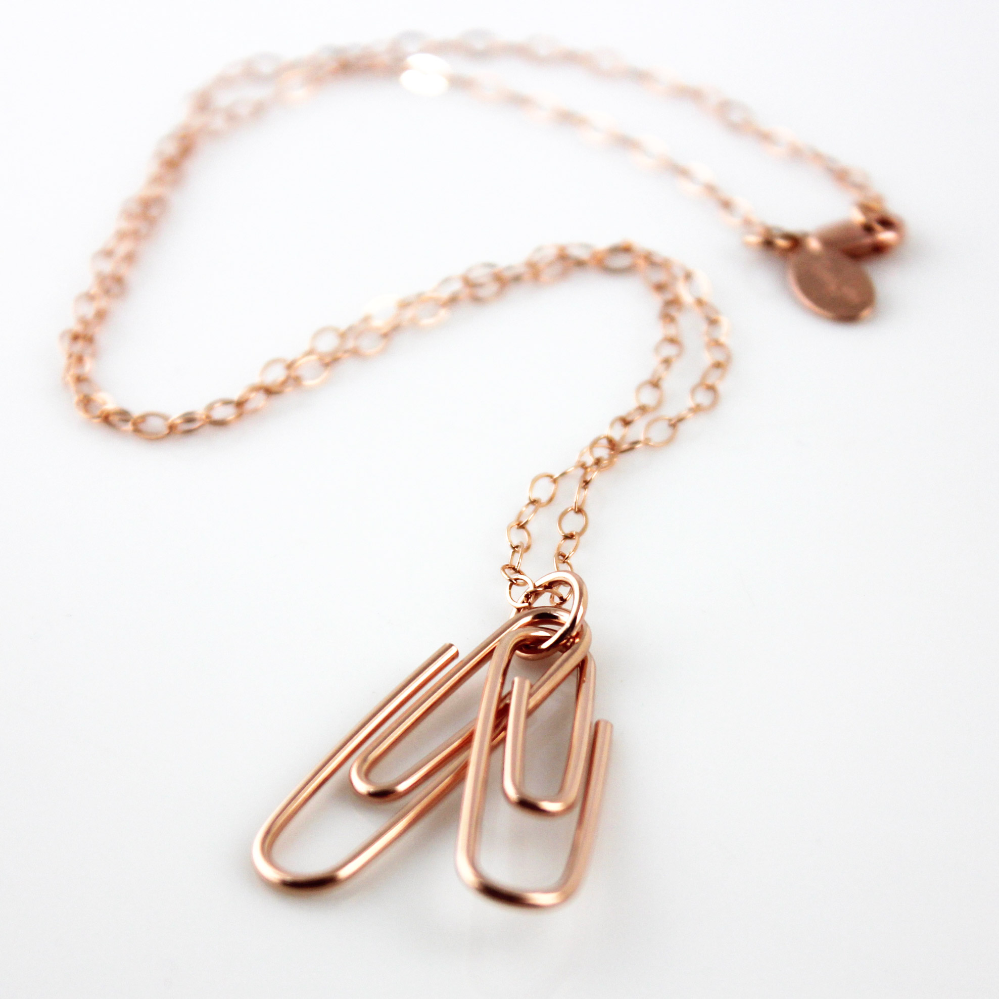 Two Linked Paperclips / Rose Gold-Filled