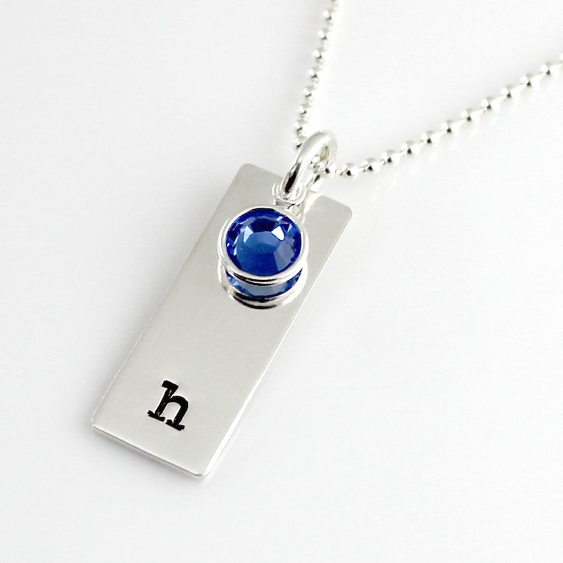 Initial Tag Necklace with Channel Set Crystal added