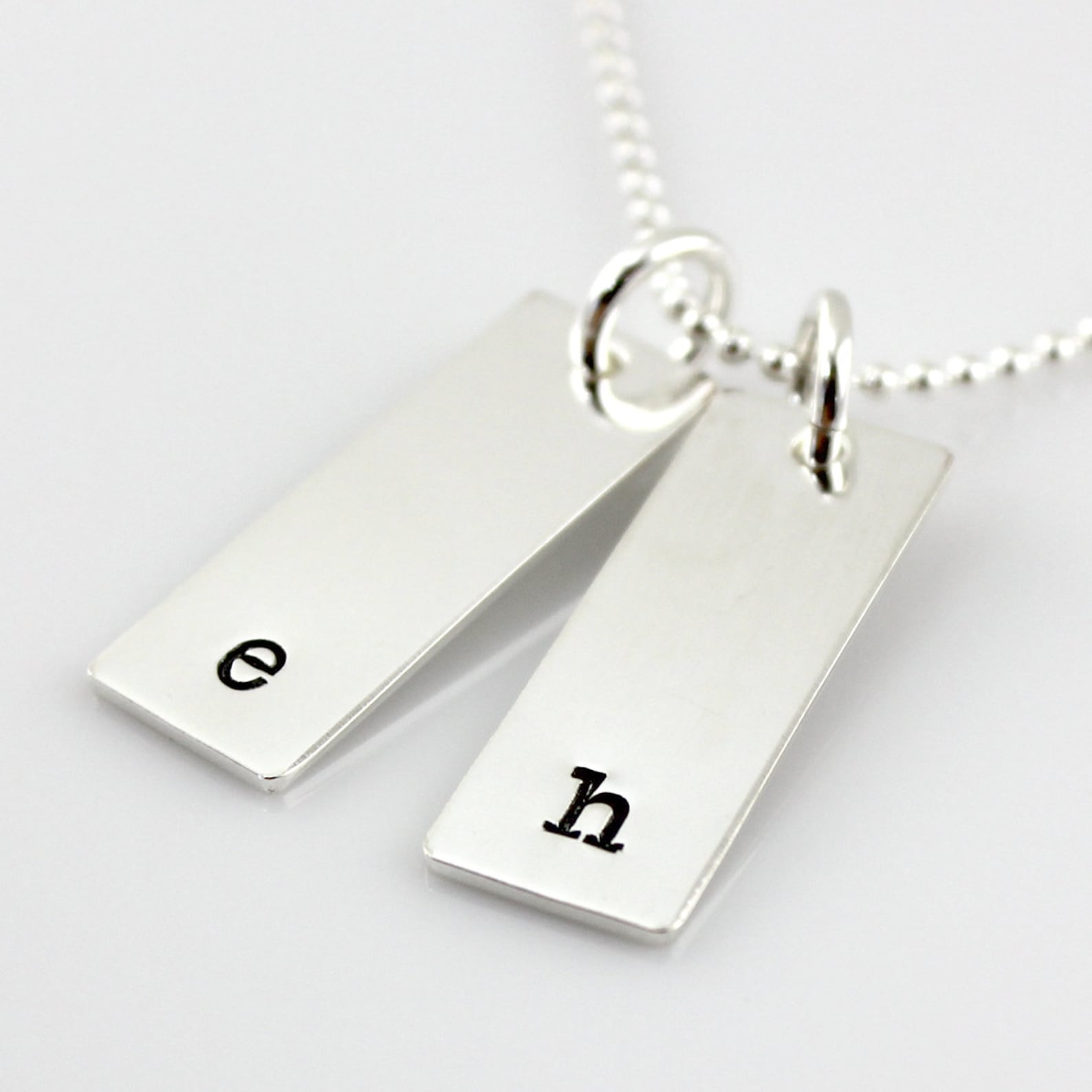 Initial Tag Necklace with two tags