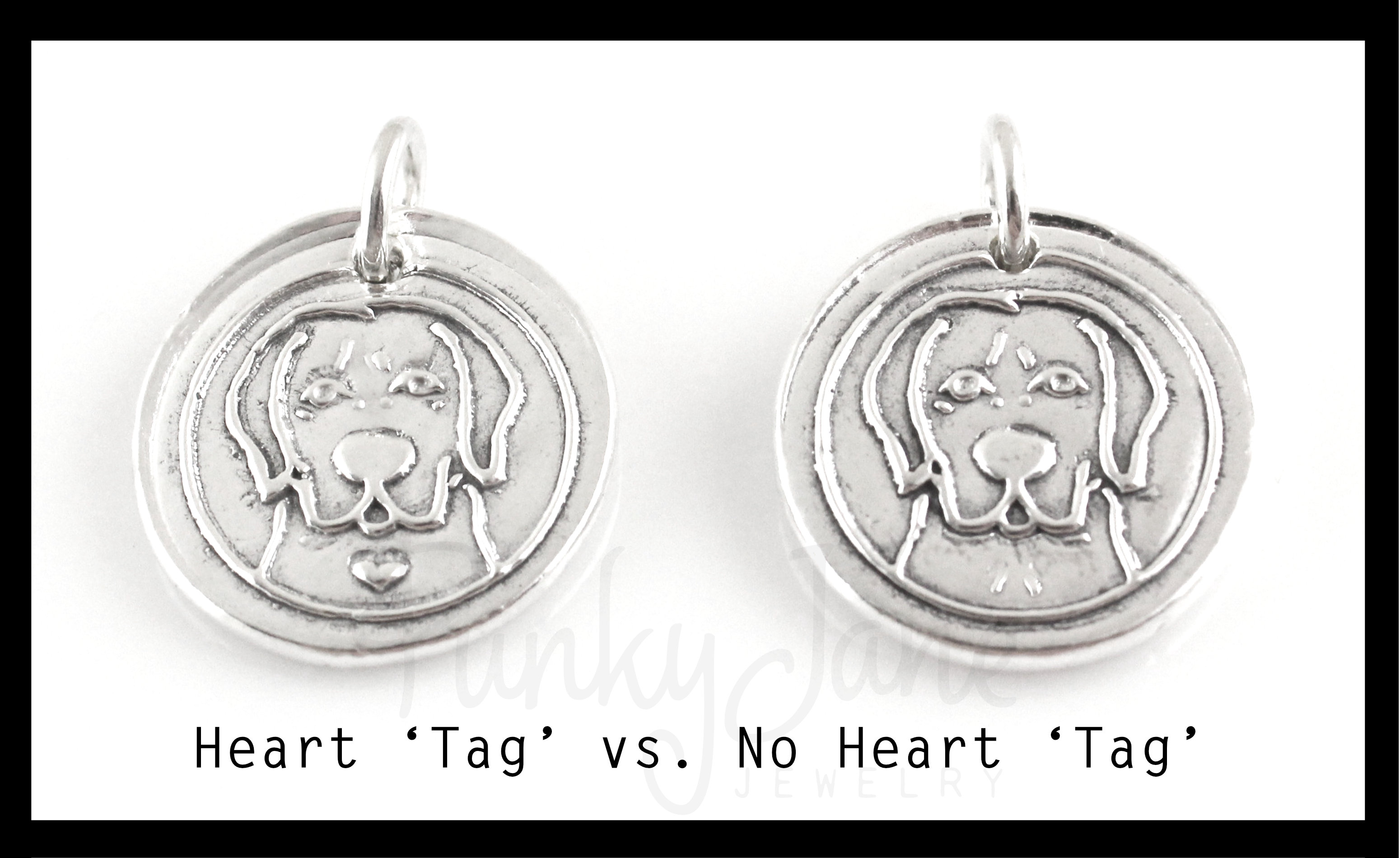 Each dog breed design can have a heart 'tag' on its chest or not.