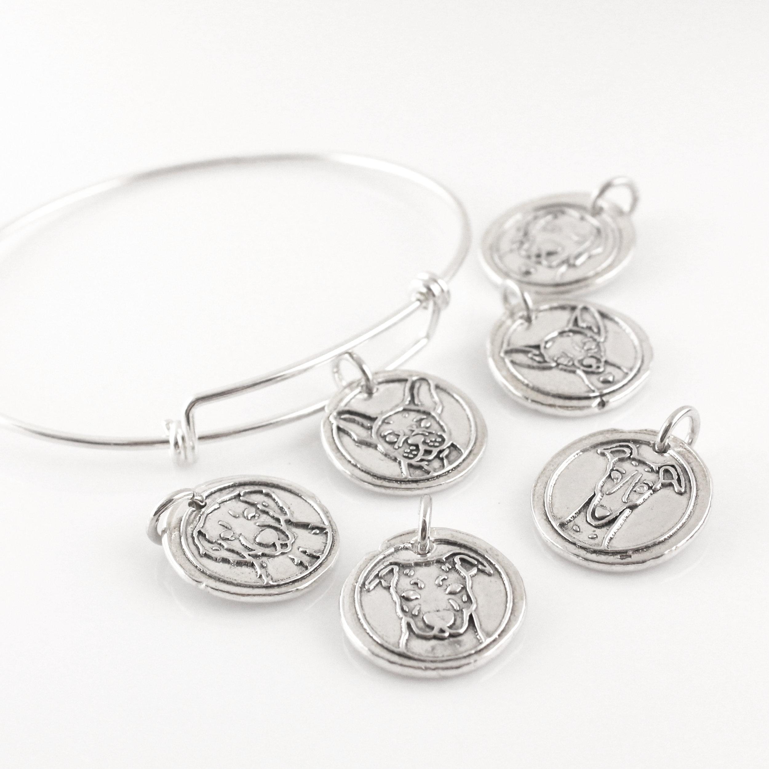 Dog Breed Bangle / Good Dog Wax Seal Inspired Bracelet