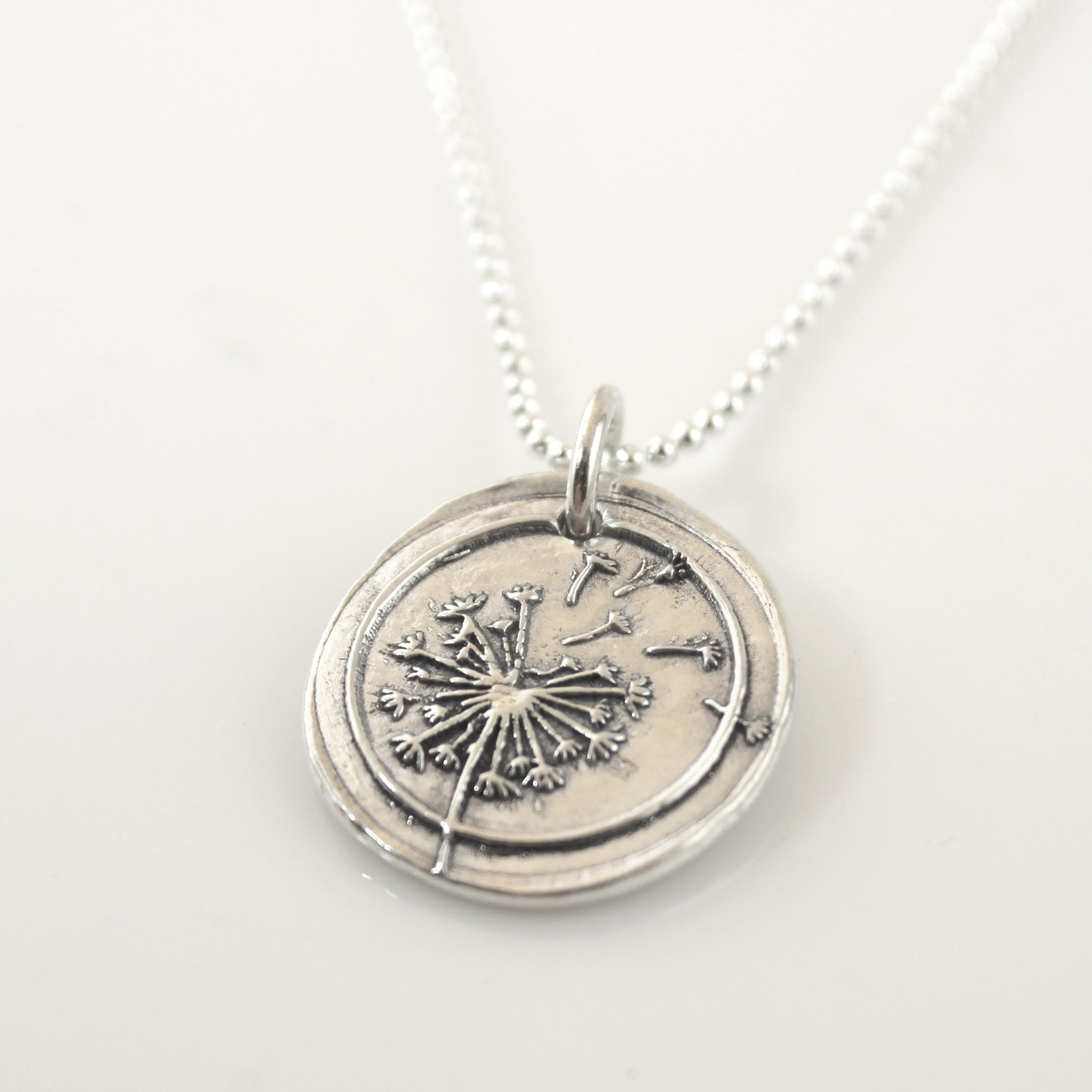Dandelion Wax Seal Inspired Necklace