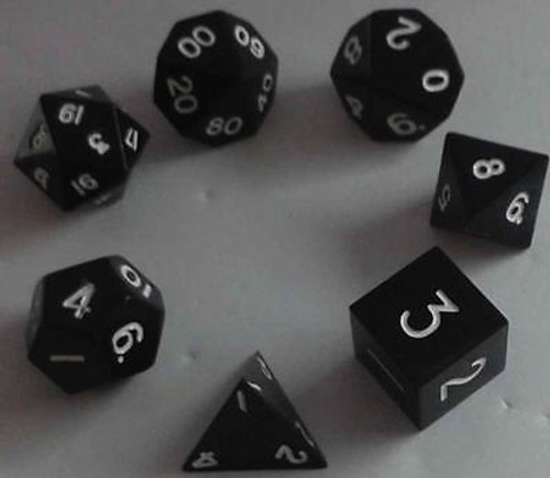 Metallic Dice: Black Color Solid Metal Polyhedral 7-Die Set ADD'L ITEMS SHIP FREE