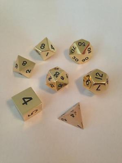 Metallic Dice: Gold Color Solid Metal Polyhedral 7-Die Set ADD'L ITEMS SHIP FREE