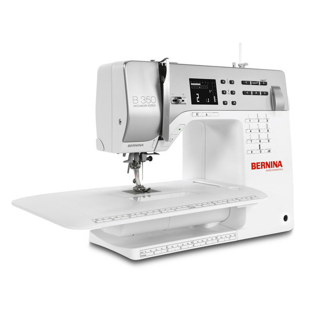 Bernina 350 featuring the free arm extension table