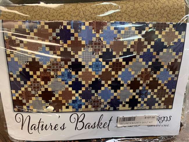 "Nature's Bounty Quilt Kit  Quilt is 61 1/2"" x 76 1/2""  Kit includes:  23 medium and dark fat quarters 18 light fat eighths* 2/3 yd for binding Nature's Basket Pattern *This is different than the pattern, but you will have plenty of fabric to cut for quilt"