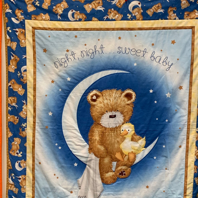 41x48 Teddy Bear & Duck Night Time Quilt