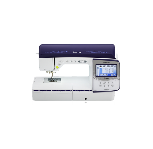 """Introducing the newest, sewing and embroidery combination machine from the Q-Series lineup. The Innov-ís NQ3600D offers new state-of-the-art features such as the automatic thread trimming system, giving you the opportunity to cut every jump stitch by moving the frame. The large workspace, Automatic Height Adjuster (AHA) feature and the Pivot function all make for easy sewing and quilting projects. Expand your design capabilities with the generous 233 built-in embroidery designs, including 35 designs featuring Disney characters 291 built-in stitches, 10 styles of one-step auto-size buttonholes, and 5 sewing lettering fonts 233 built-in embroidery designs, including 35 designs featuring Disney characters, 140 frame pattern combinations, and 11 embroidery lettering fonts 8.3"""" from needle to arm Generous workspace to accommodate large projects 4.85"""" color LCD touch screen display Large 6"""" x 10"""" embroidery area Automatic feed thread cutting system conveniently cuts thread between color stitch blocks Automatic Height Adjuster (AHA) automatically senses your fabric for smooth even stitches Pivot function for precise corners, smoother circles, and easier chain piecing My Custom Stitch with the ability to combine and edit custom and built-in sample stitches On-screen editing includes letter editing, enhanced zoom, resizing, rotating, repositioning, drag and drop, and combining designs Built-in USB port to import designs from your memory stick Embroider and sew designs up to 850 stitches per minute Wide range of included accessories  For a limited time receive a free Brother 1100 yard 24 piece Disney mini king thread collection.  This is $129 value is just what you need to create your own Disney characters from home!!"""