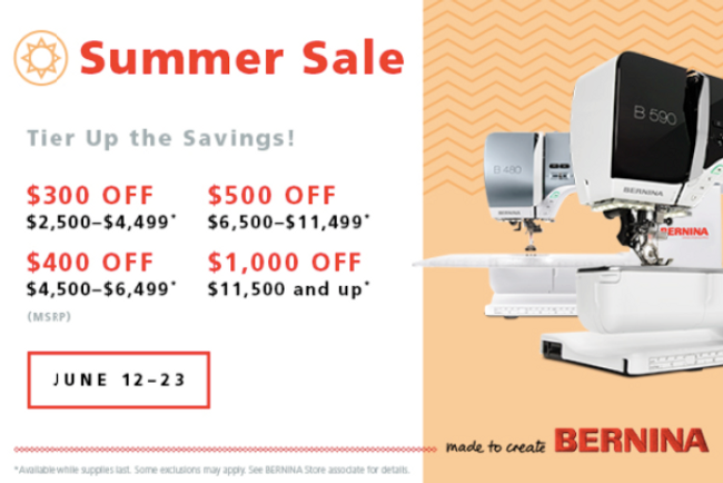 Bernina Summer Sale June 12th - 23rd!