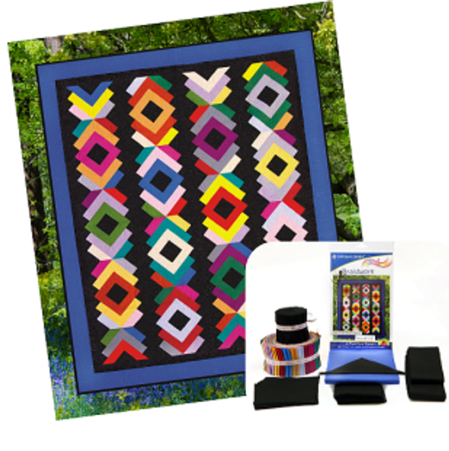 Braidwork Quilt Kit Featuring fabric from Moda's Cowgirls County fabric line Prints are in blues, blacks, dark red and cream. Pattern is included in this kit.