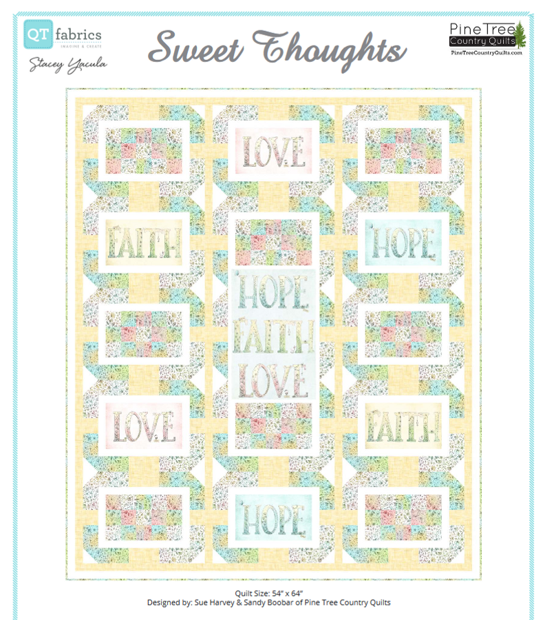 54in x 64in quilt made with a 2/3 yard panel of rectangles. Simple strip sets and quick-corner triangles make this one easy enough for a beginner. Fabrics shown are from the Sweet Thoughts collection from QT Fabrics. Skill Level: Beginner