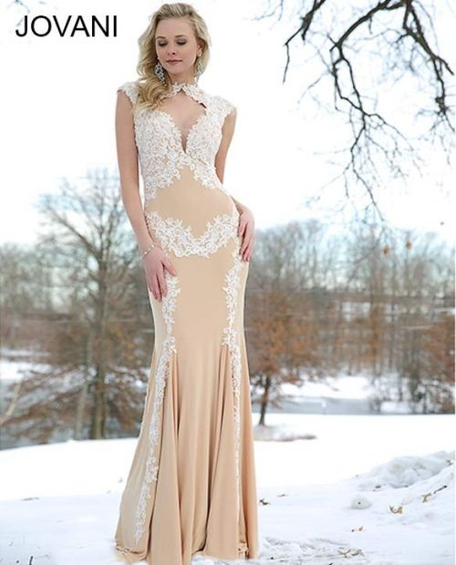 Jovani 89902 White Lace Over Nude Size 10 on SALE