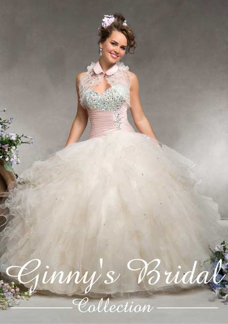 Vizcaya by Mori Lee Quinceanera Dress 88075, Champagne/Blush, Size 10 on SALE