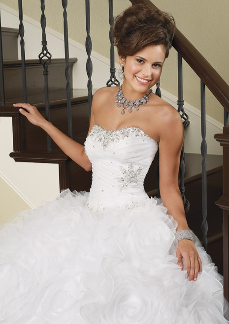 Vizcaya by Mori Lee Quinceanera Dress 88029, White, Size 4 on SALE