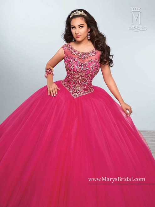 Princess by Mary's Quinceanera Dress 4Q439, Fuchsia, Size 10 on SALE