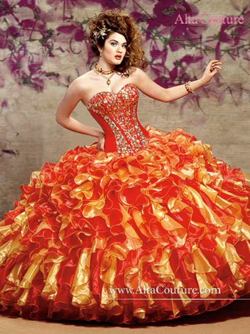 Alta Couture by Mary's Quinceanera Dress 4T105, Bright Red/Canary, Size 8 on SALE
