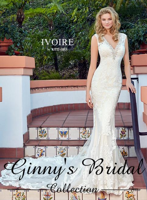 Ivoire by Kitty Chen Bridal Wedding Dress Style Elena V1710 Ivory Size 14 on Sale