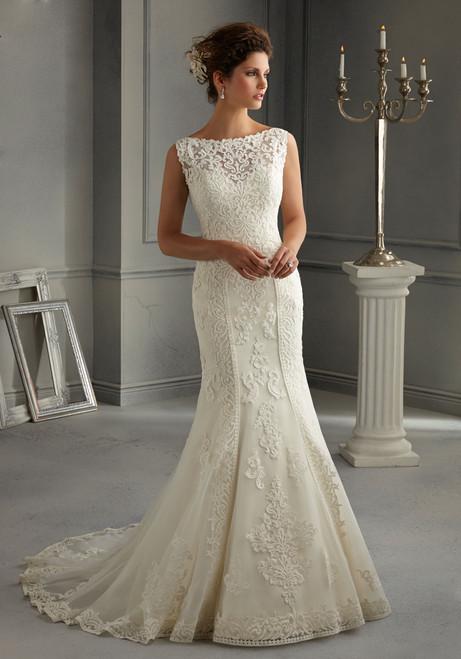 Blu by Morilee Bridal Wedding Dress 5262 Diamond White Size 14 on Sale
