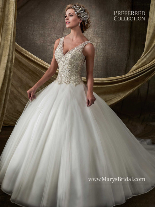 Mary's Bridal Wedding Dress D8113 Ivory Size 12 on Sale