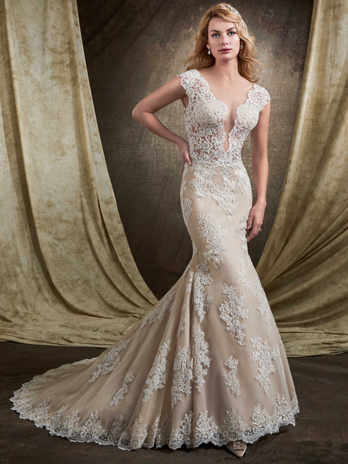Mary's Bridal Wedding Dress D8136 Ivory Size 12 on Sale