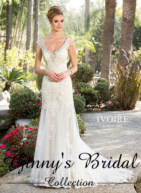 Kitty Chen Bridal Wedding Dress Style Blaire V1605 Ivory/Champagne Size 14 on Sale