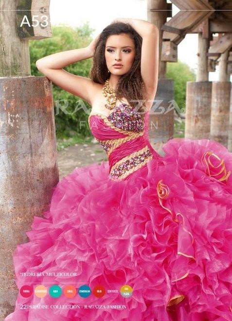 Ragazza Fashion Quinceanera Dress A53-253 Aqua Gold Size 7