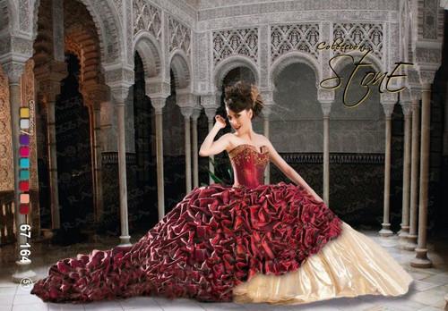 Ragazza Fashion Quinceanera Dress 67-164 Wine Gold Size 7