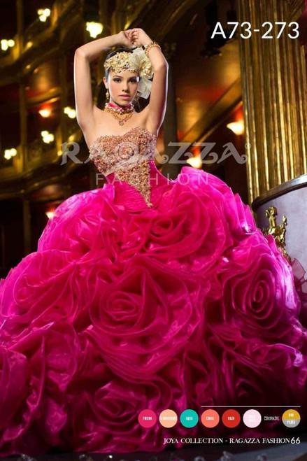 Ragazza Fashion Quinceanera Dress A73-273 Fuchsia Gold Size 5