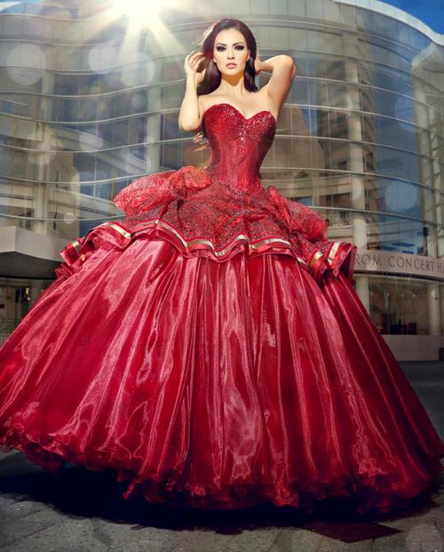 Mitzy Fashion Designer Quinceanera Dress 14M0024 Wine Gold 3 Piece Size 6