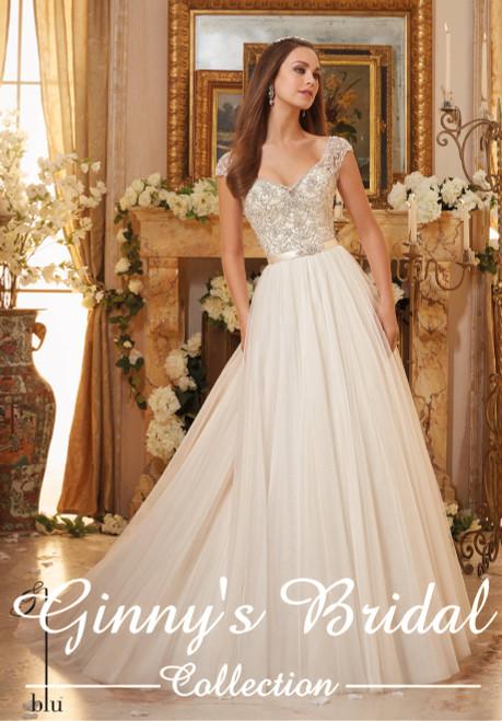 Blu by Morilee Bridal Wedding Dress Style 5476 Ivory/Champagne Size 10 on Sale