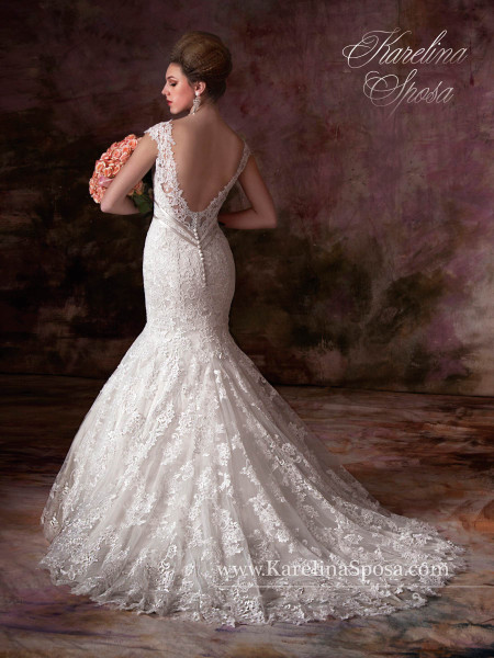 Karelina Sposa Exclusive by Mary's Bridal Wedding Dress C7997 Ivory Size 14 on Sale