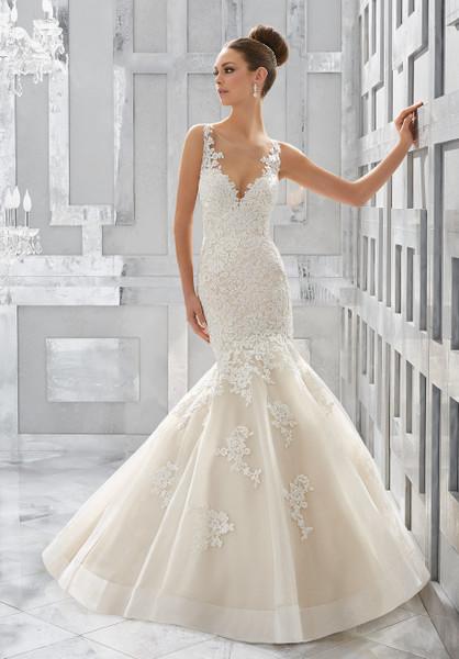 Blu by Morilee Bridal Wedding Dress Style 5571/Meryl Ivory/Light Gold Size 14 on Sale