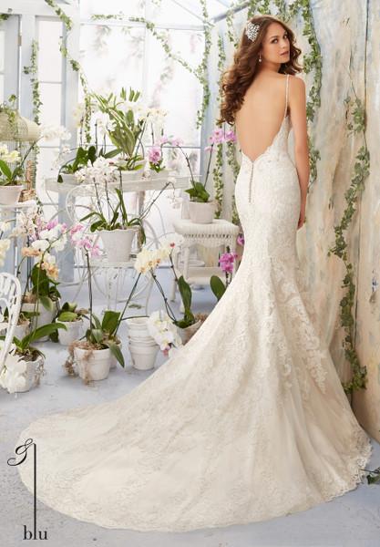 Blu by Morilee Bridal Wedding Dress Style 5415 Ivory/Light Gold Size 12 on Sale