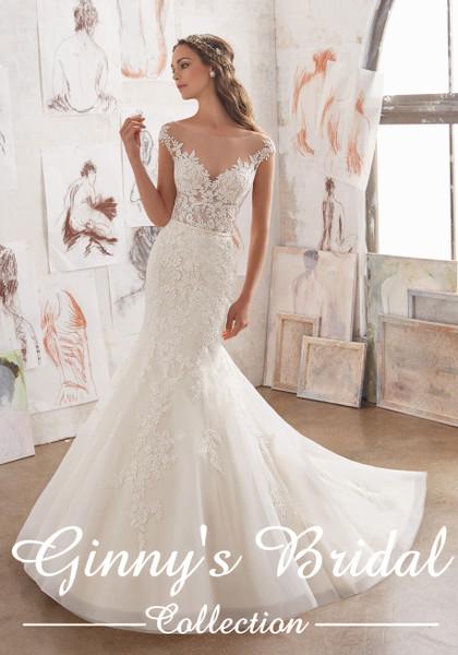 Blu by Morilee Bridal Wedding Dress Style 5509/Martha Ivory/Light Gold Size 14 on Sale